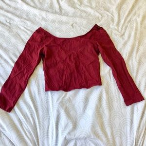 American Eagle Burgandy Lace Wrap Back Crop Top